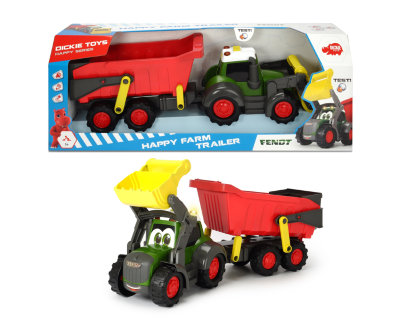 Трактор Happy Farm трейлер 65 см свет звук Dickie Toys 3819002